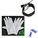 Bluecell 5 pair White color Stripe Anti Static Gloves + Black Color 1.5M Anti-Static Wrist Strap/Band with Adjustable Grounding for computer/electronic/working/repairing