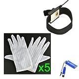Kit Bluecell de 5 pares de guantes antiestática blancos + un brazalete antiestática negro para trabajos en electrónica.