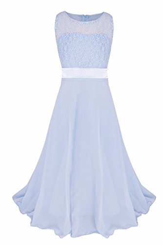 iEFiEL Big Girls Lace Chiffon Bridesmaid Dress Dance Ball Party Maxi Gown Blue-Gray 6