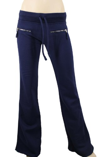 True Religion Women's Sweat Pants w/Simulated Zip Closure Pockets Navy Blue
