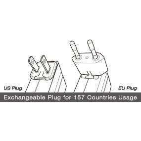 2 Exchangeable Plugs - Constructed to be compatible with outlets from 157 countries