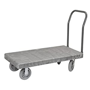 Akro-Mils R90285A1011 30-Inch-W and 60-Inch-L 8-Inch Thermo-Plastic Casters VERSA/Deck Plastic Platform Truck with 1 Open Swayback Handle, Grey