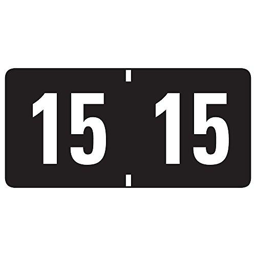 ANNÉE 2015 FIN TAB POCHETTE ÉTIQUETTES, 1 W X 2/3/4, NOIR, BLANC-ROULEAU DE 500 ÉTIQUETTES