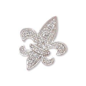 Cleversilver'S Rhodium Plated Pave Cz Fleur De Lis Slide