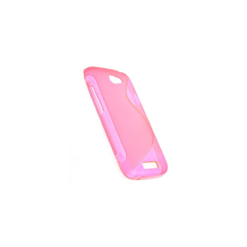 CASE123 Hot Pink Soft TPU Gel Grip Skin Case Cover for T mobile HTC One S (Ville)