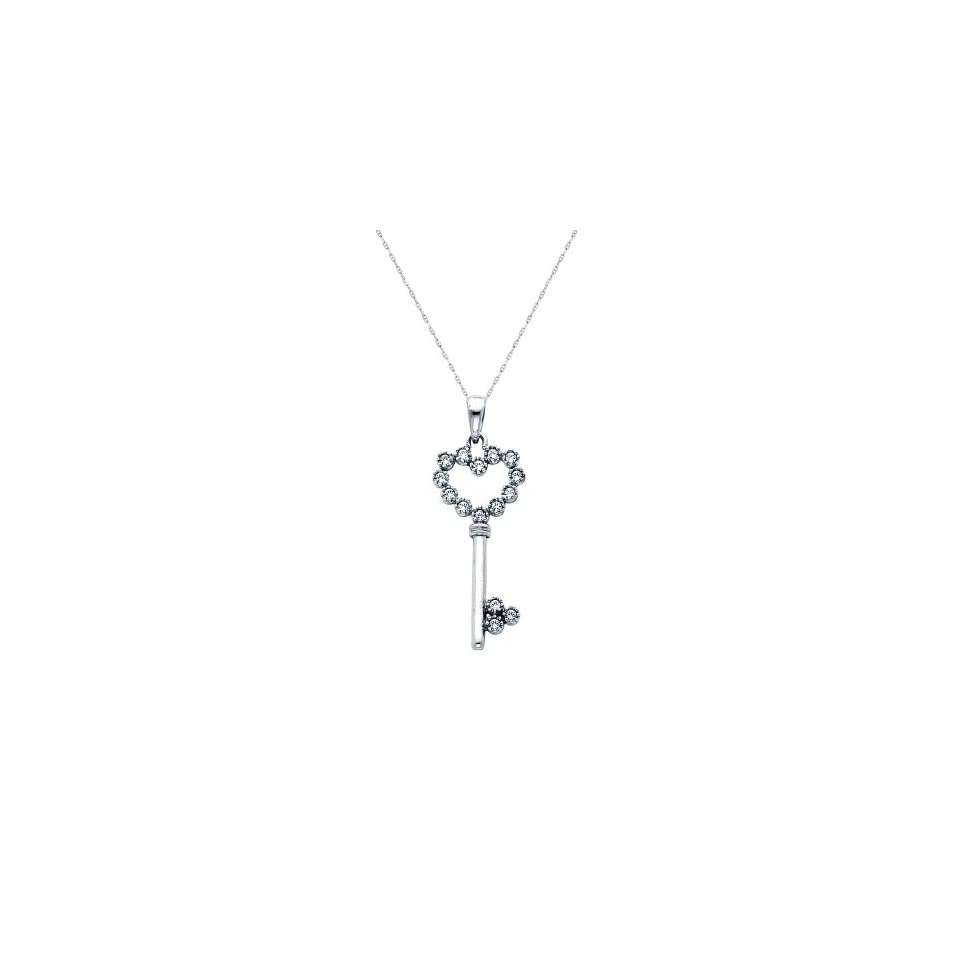 14K White Gold CZ Fancy Key to My Heart Charm Pendant with 1.0mm Anchor Link Mariner Chain Necklace Set   18 Inches