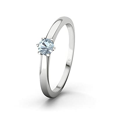 21DIAMONDS Women's Ring Den Haag Blue Topaz Diamond Engagement Ring - Silver Engagement Ring