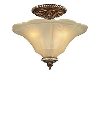 Artistic Lighting Allesandria 3-Light LED Semi-Flush Mount, Burnt Bronze/Weathered Gold Leaf