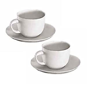 NEW, 6 Oz. (Ounce) White Porcelain Cappuccino Cup & Saucer Set, Latte / Coffee Cups, Restaurant Quality - Two (2) Sets