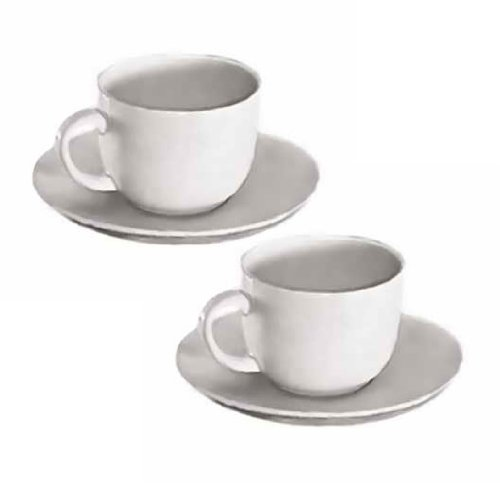 Set Of 2, 6 Oz. White Porcelain Cappuccino Cup & Saucer Set