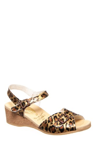 Worishofer 711 Low Wedge Sandal - Metallic Leopard