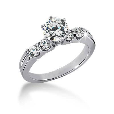 14K White Gold Engagement Ring – 1.10CT Round Cut Diamond Ring(H-I Color, I1 Clarity), All Sizes Available