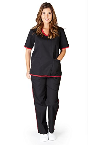 Natural Uniforms Women's Contrast Trim Scrub Set (Black//Red) (X-Large) (Natural Uniforms Scrubs compare prices)