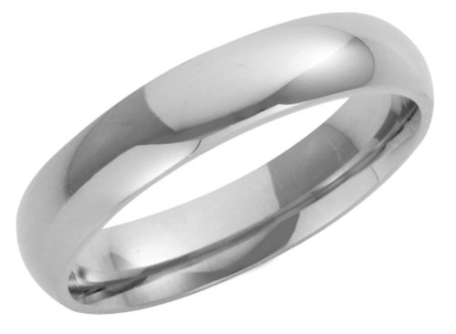 Wedding Ring, 9 Carat White Gold Heavy Court Shape, 4mm Band Width