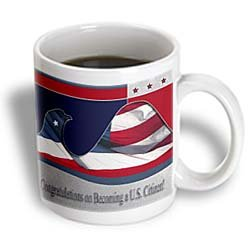 3dRose Congratulations on Becoming a U.S. Citizen, Flag Eagle Ceramic Mug, 15-Ounce