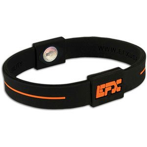 EFX Silicone Sport Wristband – Black with Orange Accents – 8 inch