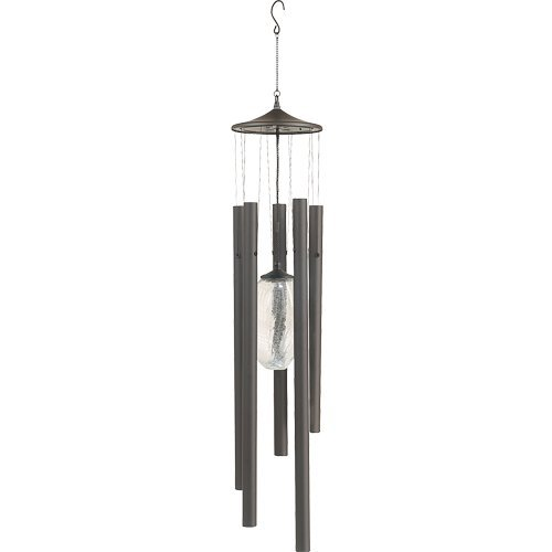 Royce Lighting Rl50024B-23 Jumbo Battery Operated Led Wind Chime With Oval Crackle Glass Globe, Stainless Steel With Oil Rubbed Bronze Finish