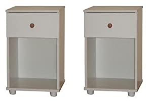 Pair Bedside Tables White 1 Drawer Bedside Cabinet Open Storage *Brand New*