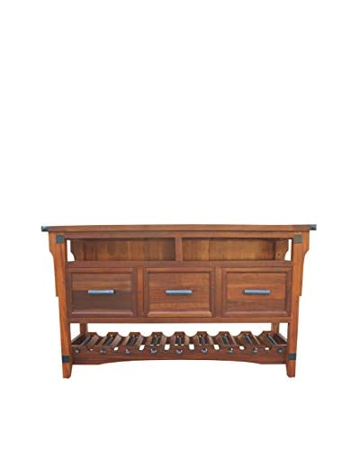 Tottenham Court Alda 3 Drawer Wine Console, Nutmeg Brown