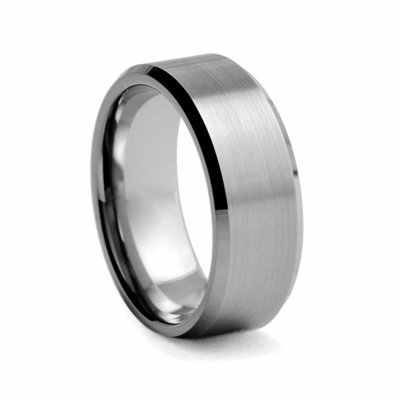 8 mm Beveled Edged Tungsten Wedding Band-5.0