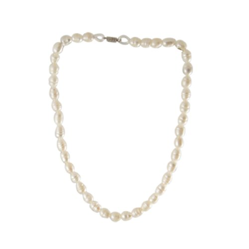 Rosallini White Bell Shaped Faux Pearl Princess Necklace for Lady