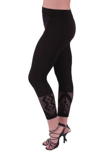 EyeCatchClothing - Vegas Super Soft Stretch Crop Leg Pull on Womens Leggings Crochet Detail One Size