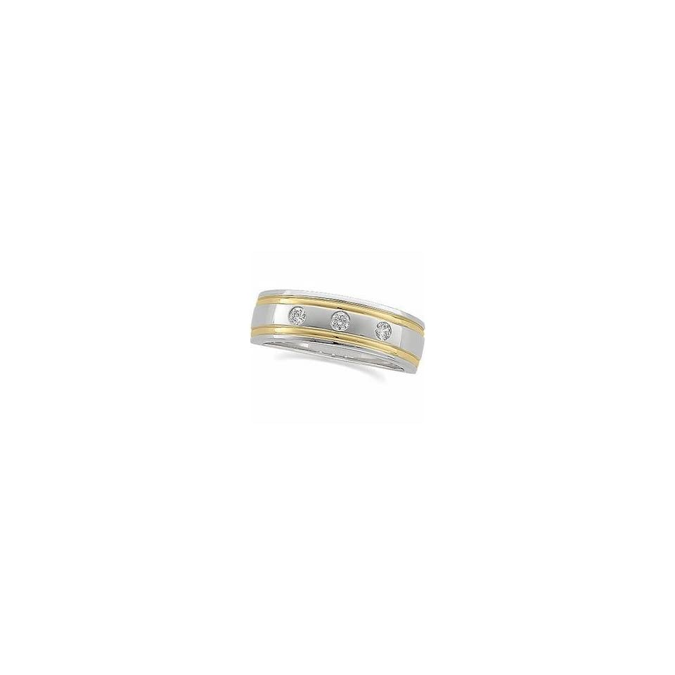 14k Two Tone Gold Diamond Duo Ring