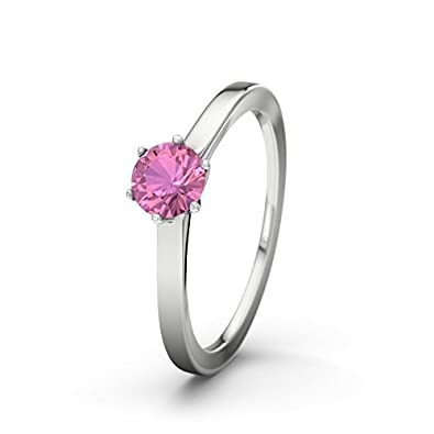 21DIAMONDS Women's Ring Mount Everest Pink Tourmaline Brilliant Cut Engagement Ring - Silver Engagement Ring