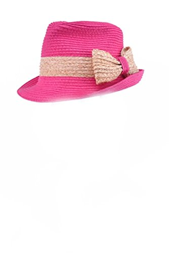 One Size Fits Most Belted Rim Straw Bow Fedora Hat, Bright Fuchsia
