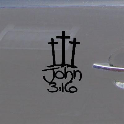 Black Car Decal Decor Christian 3 Crosses John Laptop Car Adhesive Vinyl Home Decor Art Window Wall Art Macbook