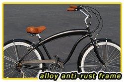 Anti-Rust Aluminum frame, Fito Modena EX Alloy Shimano 7-speed - Matte Black, men's Beach Cruiser Bike Bicycle Micargi Schwinn Firmstrong Nirve Style