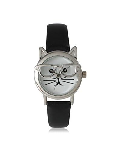 Olivia Pratt Women's 15097 Black Cat In Glasses Leather Watch
