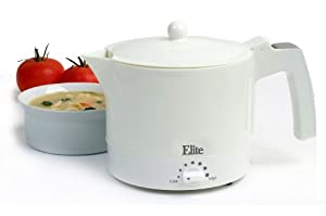 MaxiMatic EHP-001 Elite Cuisine 32-Ounce Electric Hot Pot with Egg Cooker and Steam Rack, White