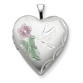 Genuine IceCarats Designer Jewelry Gift Sterling Silver 20Mm Enameled Flower And Bird Heart Locket