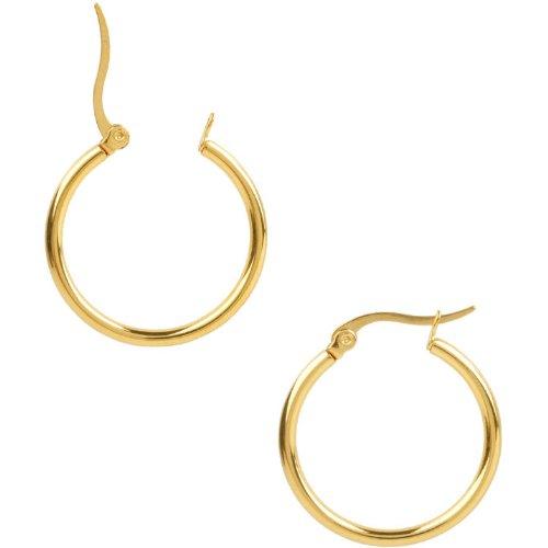 Inox Jewelry 316L Stainless Steel 40mm Gold ip Hoop Earrings
