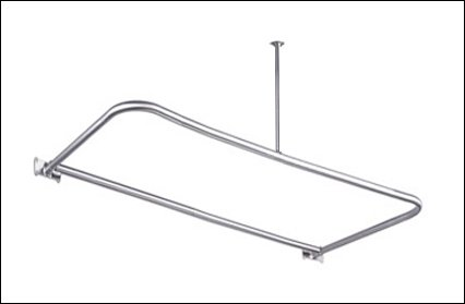 48 x 26 Chrome D Shaped Shower Rod includes Ceiling Support and