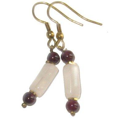 Garnet Earrings 15 Dangle Rose Quartz Pink Red Crystal Healing Gemstone 1.5