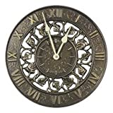 Whitehall Products Ivy Silhouette Aluminum Outdoor Clock 01834, 12 inch diameter, French Bronze