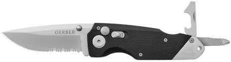 Gerber 22-41022 Obsidian Serrated Edge Knife with Screwdriver and Bottle Opener