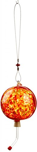 Glass Hummingbird Feeder - Red with Yellow