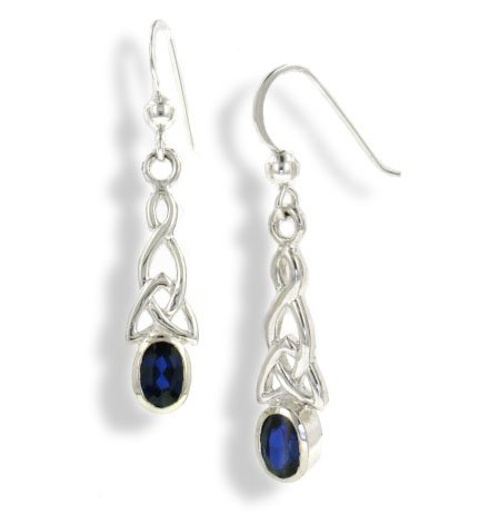 Sterling-Silver-Celtic-Knot-and-Created-Blue-Sapphire-Hook-Earrings