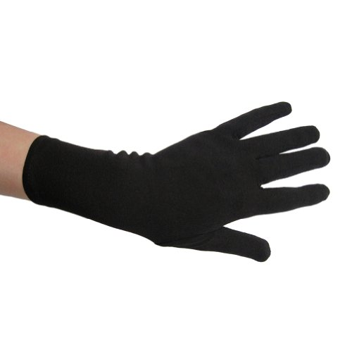 Black Costume Gloves (Wrist Length) ~ Halloween Costume Accessories (STC12036)
