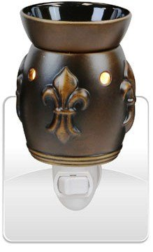Decorative Ceramic Wall Plug-in Tart/Wax Candle Warmer (Bronze Fleur de Lis)
