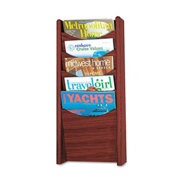 Safco 4330Mh - Solid Wood Wall-Mount Literature Display Rack, 11-1/4W X 3-3/4D X 24H, Mahogany-Saf4330Mh