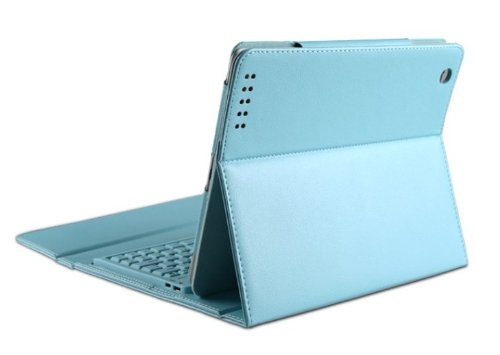 Top® Bluetooth Wireless Keyboard With Leather Case Stand Cover Ipad 2Nd 3Rd Generation, Leather Case Cover With Built In Stand And Wireless Bluetooth Keyboard For Apple Ipad & Ipad 2 Tablet, Blue Leather Case With Bluetooth Wireless Keyboard For Ipad2 And