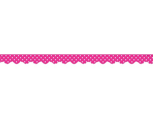 Teacher Created Resources Hot Pink Polka Dots Scalloped Border Trim (5209) (Hot Pink Border compare prices)