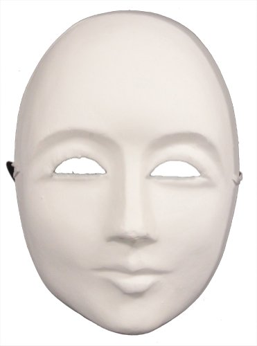 RedSkyTrader Mens Paper Mache Plain Arts and Craft Mask One Size Fits Most White