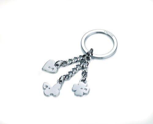 Schlüsselanhänger Metall Charming Friends mit 3 Anhänger Herz,Kleeblatt und Schmetterling mit SWAROVSKI Steine, Verpackungseinheit: 2 Stück