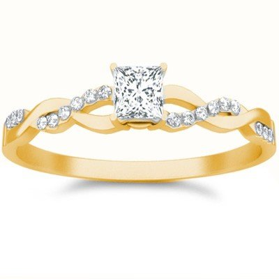 0.58 Carat Diamond Wedding Ring with Princess cut Diamond on 14K Yellow gold