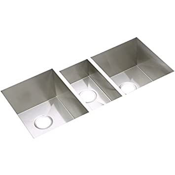 Elkay EFU402010 Avado Stainless Steel 40-Inch x 20-1/2-Inch Triple Basin Undermount Kitchen Sink